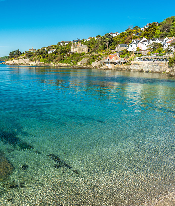 Village of St Mawes seaviews on the Roseland Peninsula in Cornwall