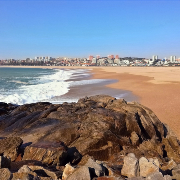view of sand and sea at Cabedelo do Douro