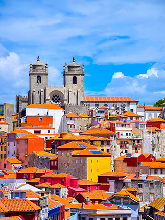 colourful rooftops in porto