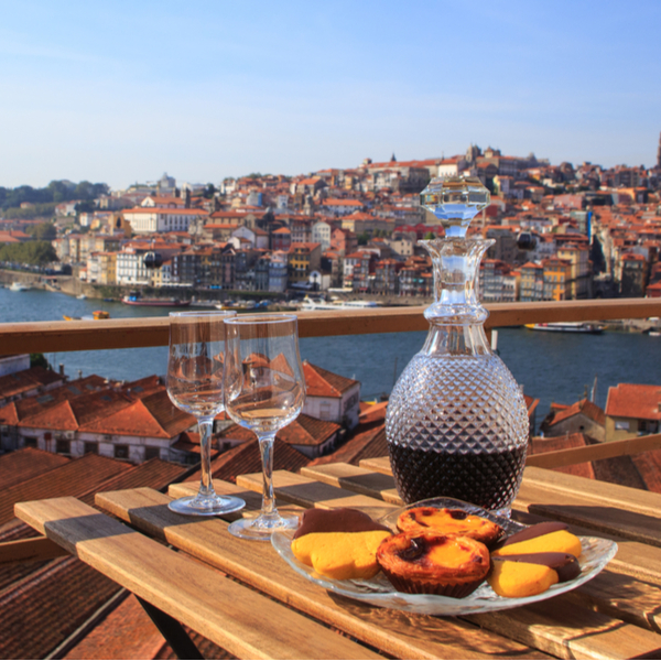 drinking port with view of porto