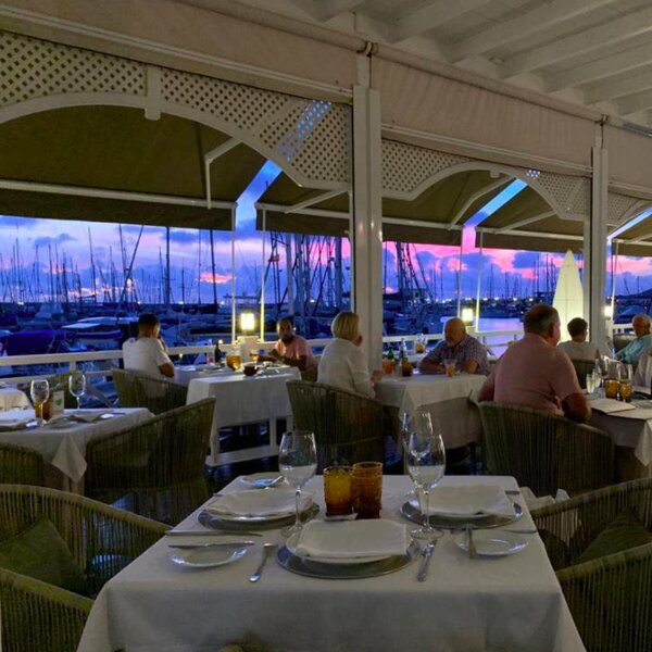 dinner with view over marina in lanzarote
