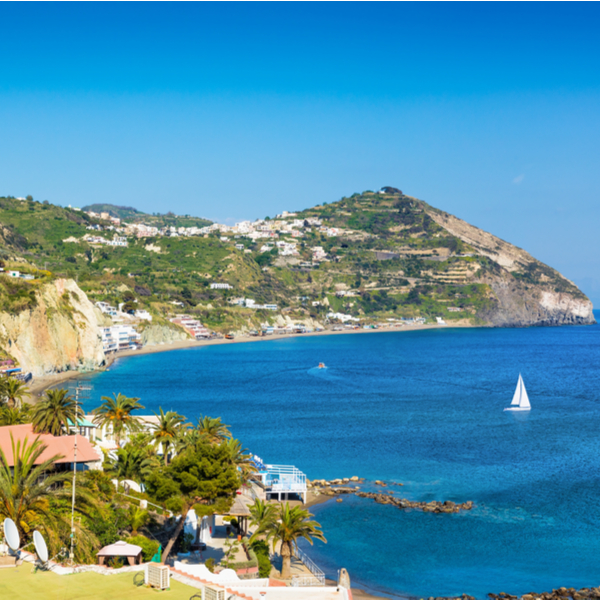 view of the sea and mountain at Le Fumarole Beach in ischia