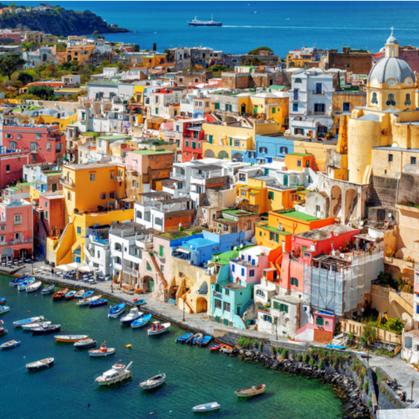 view of colour buildings at Procida