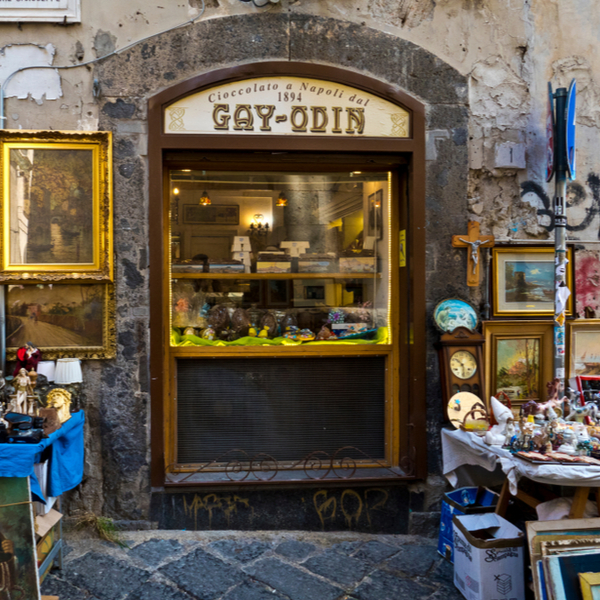 exterior of the oldest chocolate shop in naples