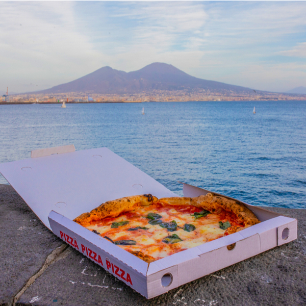 takeaway pizza with view of Vesuvius