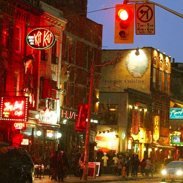 neon lights and bars in toronto's entertainment district