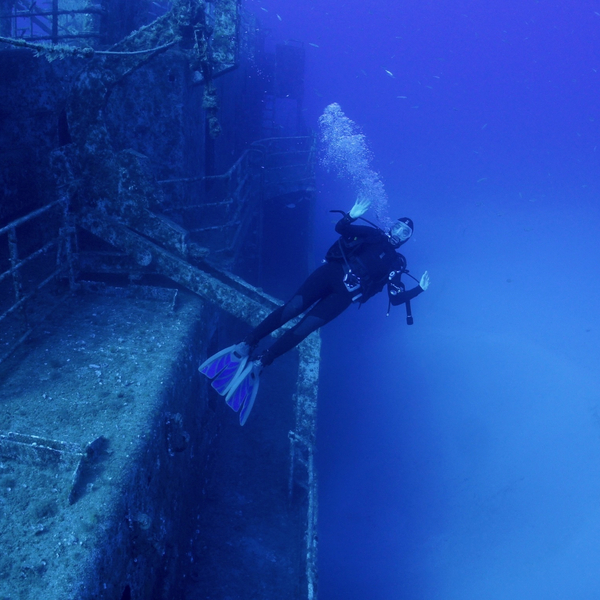 diving at a shipwreck in madeira
