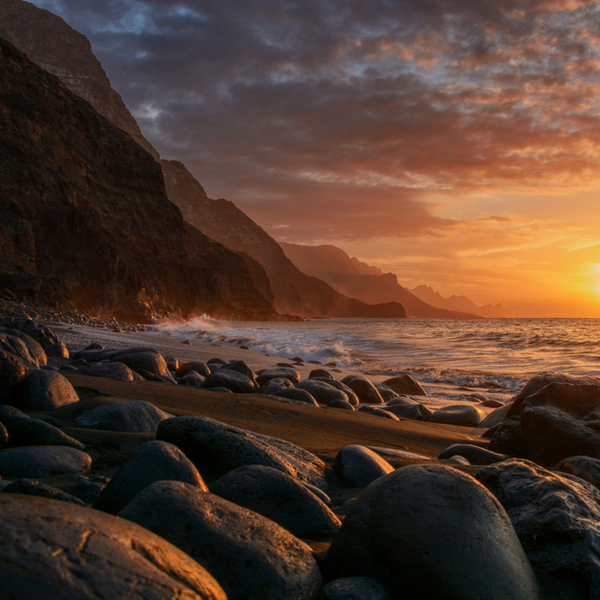 view of cliff and sea at Guayedra beach in Gran Canaria
