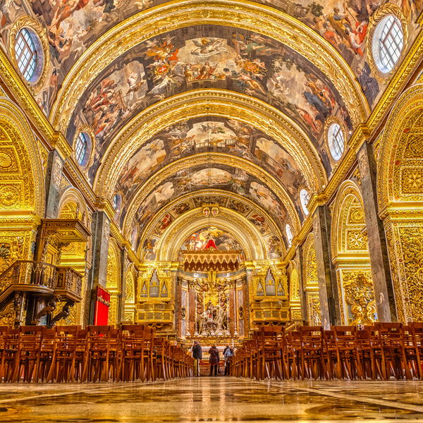 baroque architecture at a cathedral in malta