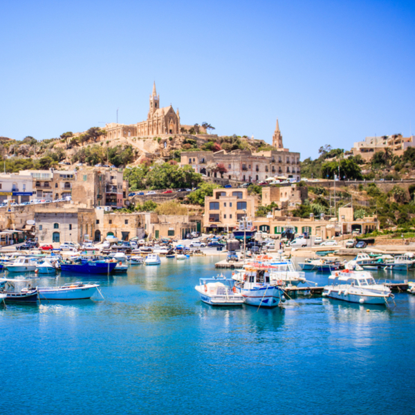 view of gozo in malta from a boat