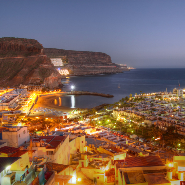 view of gran canaria sea and buildings at night