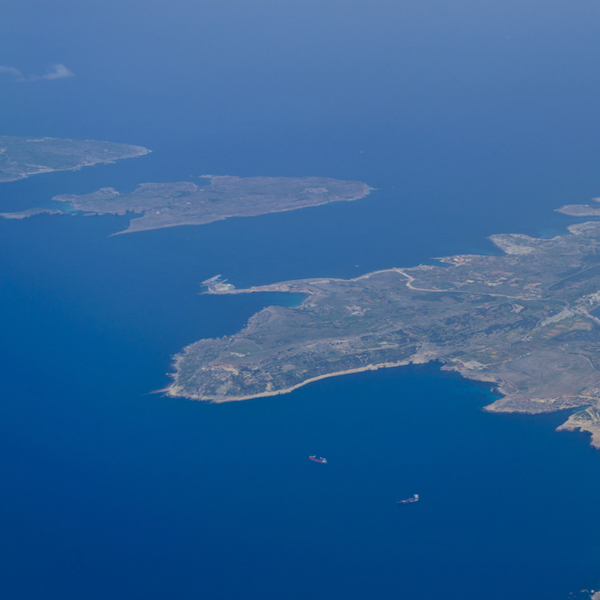 aerial view of the three maltese islands