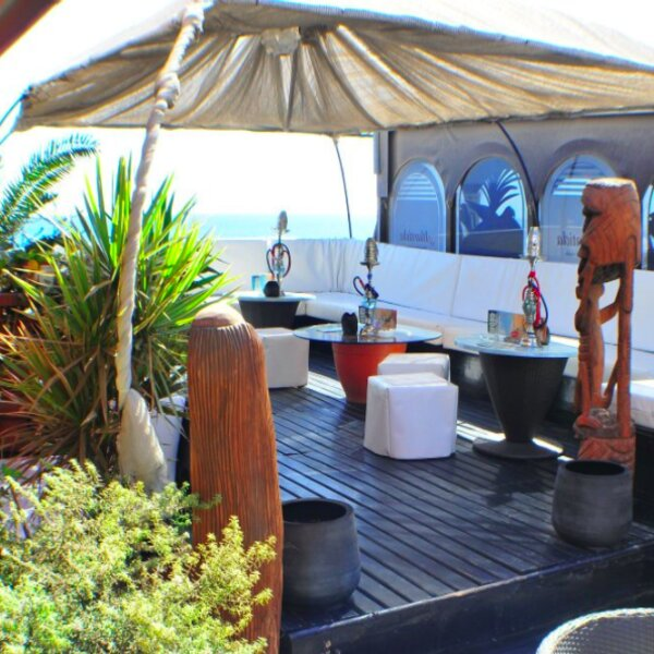 terrace area at seafront bar in gran canaria