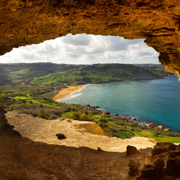 view over ramla bay from nearby cave
