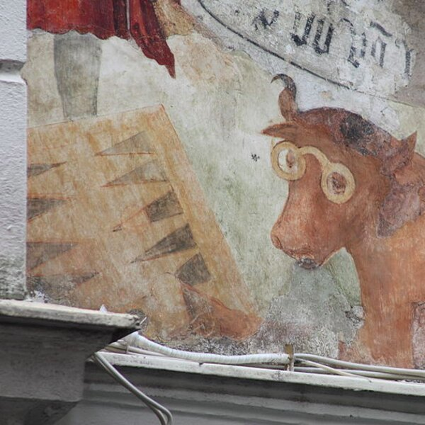 backgammon cow painting on a wall in vienna
