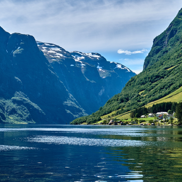 view of water and mountains at Nærøyfjord in norway