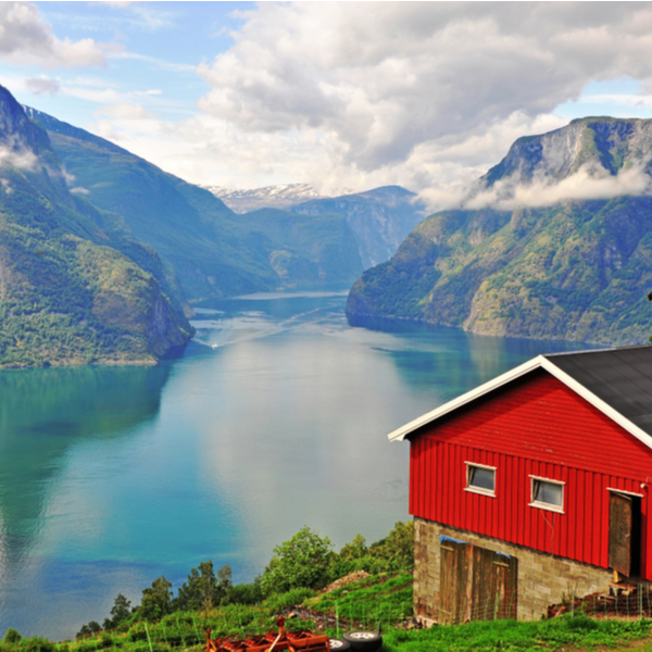 red house overlooking fjord in Sognefjord western norway