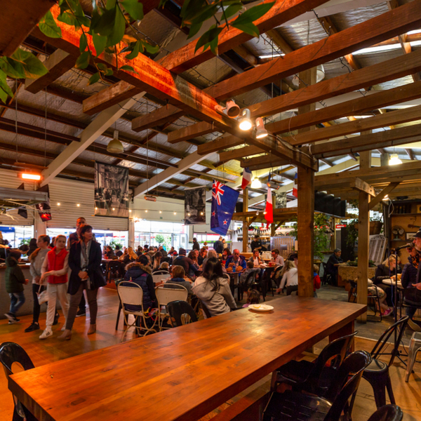 people eating at la cigale market in auckland