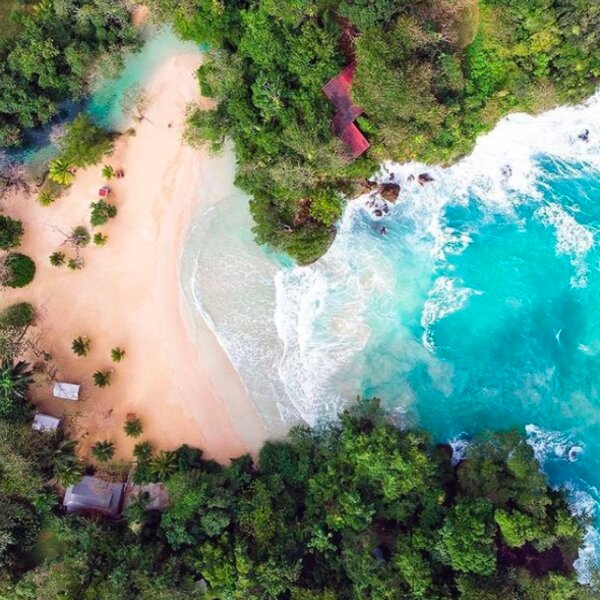 aerial view of frenchmans cove in jamaica