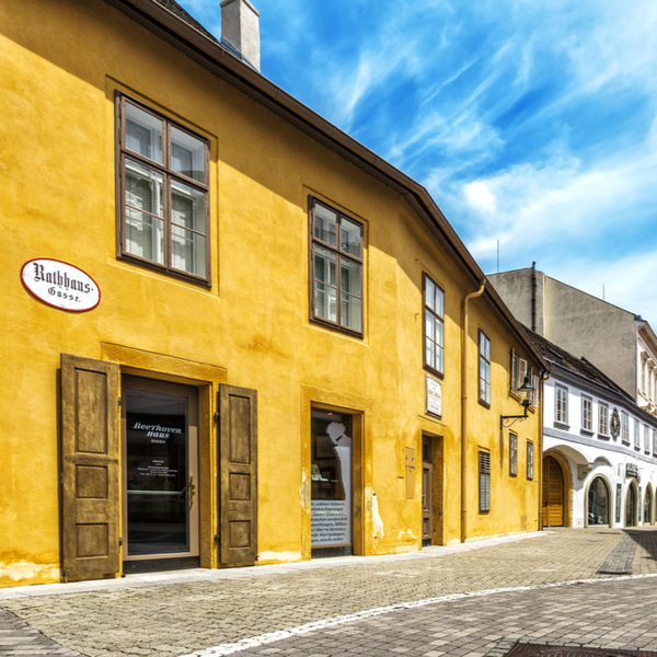 yellow exterior of beethovens house in austria