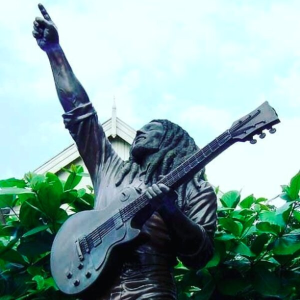 bob marley statue at museum in jamaica