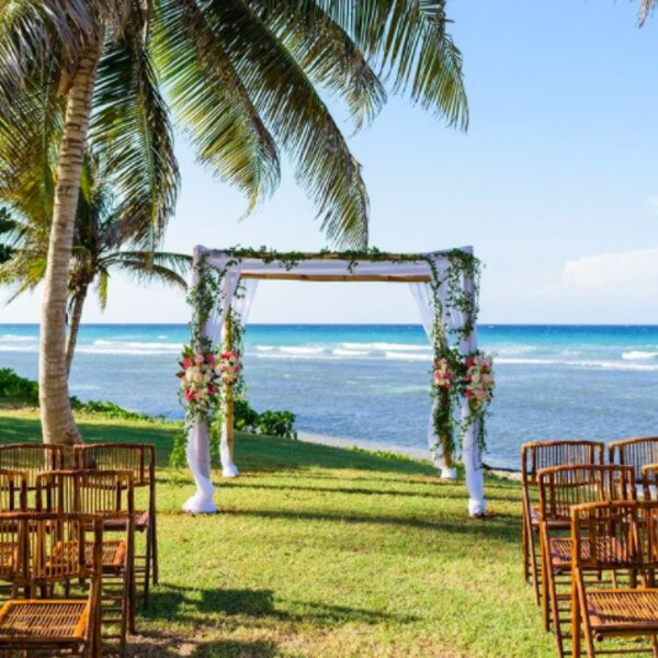 wedding set up at a hotel in jamaica