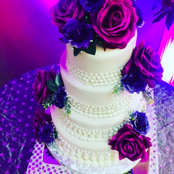 floral wedding cake by jamaican caterer