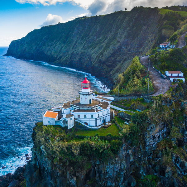 lighthouse overlooking the sea on Faial island in the azores