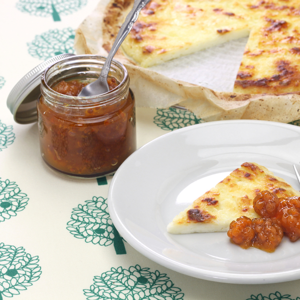 finnish squeaky cheese with cloudberry jam in lapland