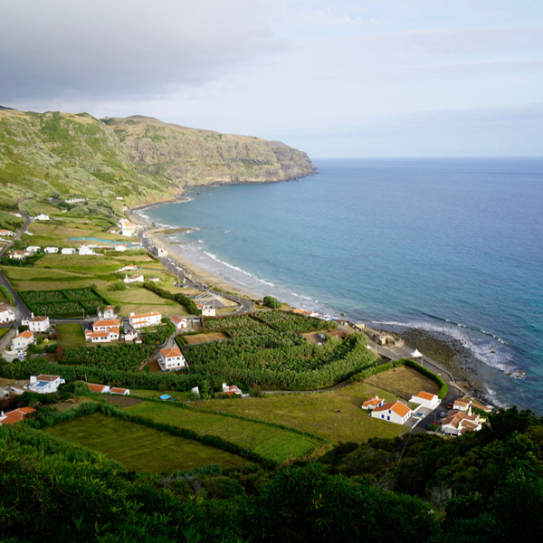 view of village and Praia Formosa beach in the azores