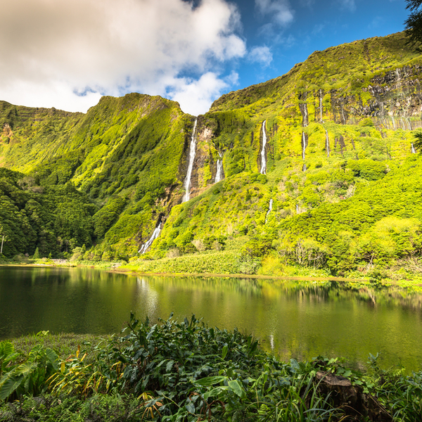 waterfalls and lake on flores island in the azores