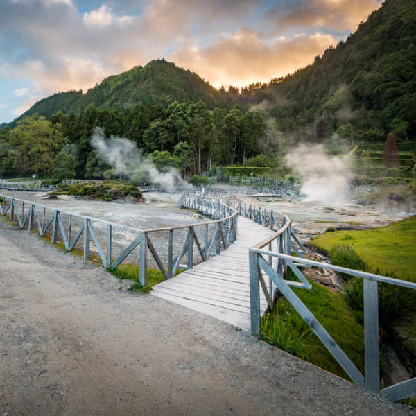 view of bridge over the thermal lake in furnas, the azores