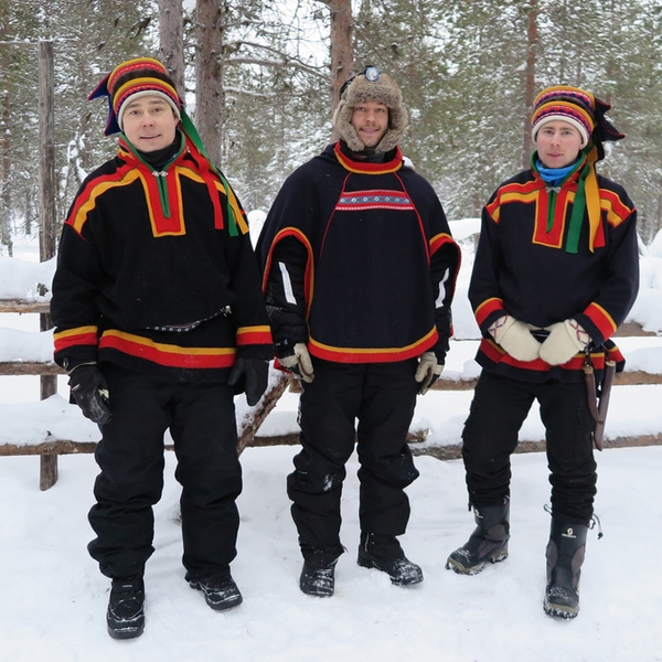 sami people of lapland in traditional clothing