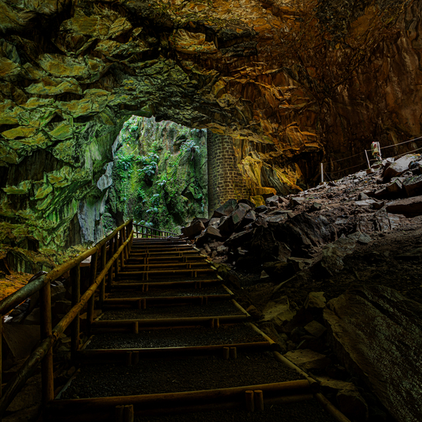 Enxofre cave on graciosa island in the azores