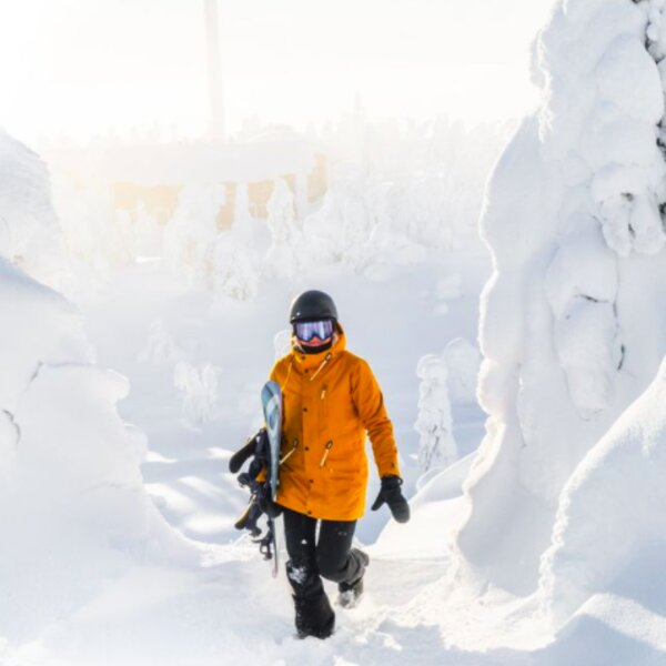 person snowboarding in lapland