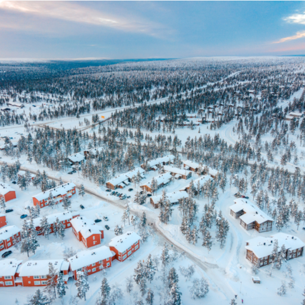 aerial view of lapland in winter
