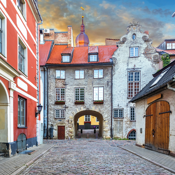 historic architecture in the old town centre of riga