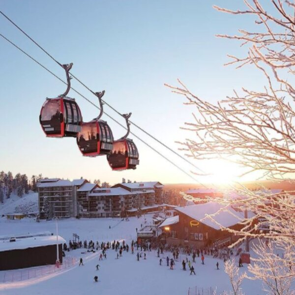 riding the cable car at lapland ski resort