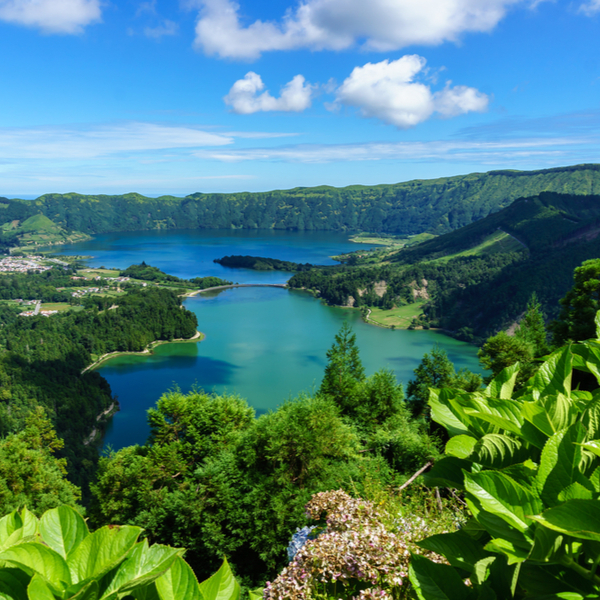 view of the crater on Sao MIguel island in the azores