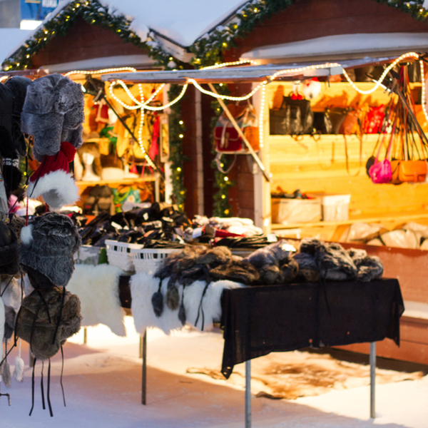 stalls at a lapland christmas market