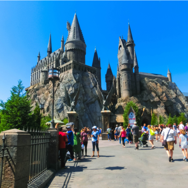 people visiting hogwarts at Universal Islands of Adventures in orlando