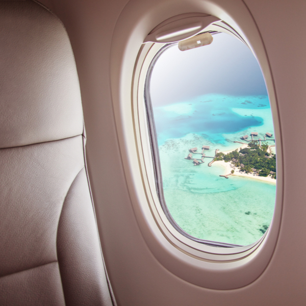 view from plane over maldives island